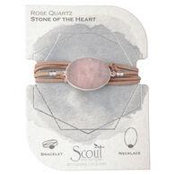 Scout Curated Wears Women's Suede/Stone Wrap - Rose Quartz/Silver Bracelet/Necklace
