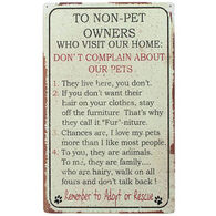 Timeless By Design Non-Pet People Rules Tin Sign