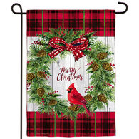 Evergreen Christmas Cardinal Wreath Textured  Suede Garden Flag