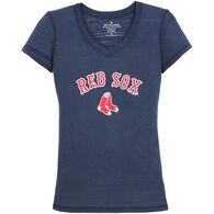 Soft As A Grape Women's Red Sox Vee Short-Sleeve T-Shirt