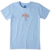 Life is Good Women's Half Full Daisy Jar Crusher Short-Sleeve T-Shirt