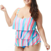 Beach House - Gabar - Swimwear Anywhere Women's Plus Size Jane Ruffle Sunrise to Sunset Tankini Top Swimsuit
