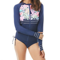 Beach House - Gabar - Swimwear Anywhere Women's Ava Zip Front Between The Lines Rash Guard