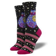 Socksmith Design Women's Laurel Burch Celestial Sun Cat Crew Sock