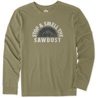 777f7e674d243d Life is Good Men's Stop And Smell The Sawdust Crusher Long-Sleeve T-Shirt