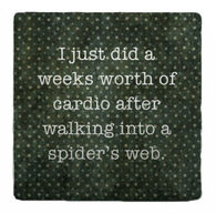 Paisley & Parsley Designs Spider Web Marble Tile Coaster