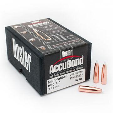 "Nosler AccuBond 6mm 90 Grain .243"" BT Spitzer Point Rifle Bullet (50)"
