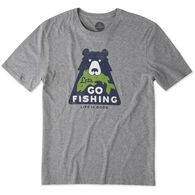 Life is Good Men's Let's Go Fishing Bear Smooth Short-Sleeve T-Shirt