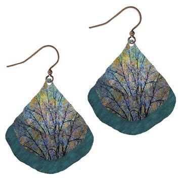 Illustrated Lights Womens DC Designs Trees Triple Fan Earring