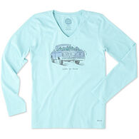 Life is Good Women's Flower Truck Crusher Long-Sleeve T-Shirt