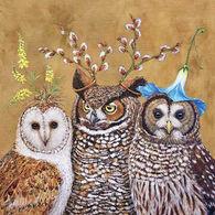 Paperproducts Design Owl Family Beverage Napkin