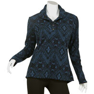 North River Women's Shawl Collar Print Micro Fleece Long-Sleeve Shirt/Jacket