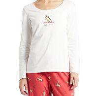 Life is Good Women's Winter Rocket Long-Sleeve Sleep T-Shirt
