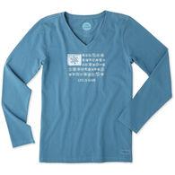Life is Good Women's Snowflake Flag Long-Sleeve V-Neck Crusher T-Shirt