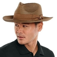 Coolibar Men's Morris UPF 50+ Multicolor Weave Fedora Hat