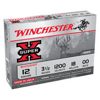 "Winchester Super-X 12 GA 3-1/2"" 18 Pellet #00 Buckshot Ammo (5)"