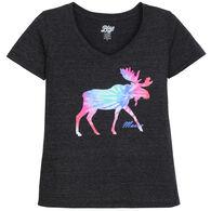 1820c8c2da9a7a Lakeshirts Women's Blue 84 Inheritance Moose Maine Short-Sleeve T-Shirt