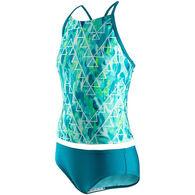 Speedo Girl's Strappy Print Tankini Two-Piece Swimsuit