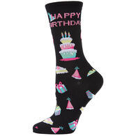 MeMoi Women's Happy Birthday Bamboo Blend Crew Sock
