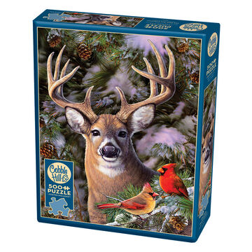 Outset Media Jigsaw Puzzle - One Deer Two Cardinals