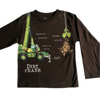 Spudz Toddler Boys' Dirt Crane Long-Sleeve T-Shirt