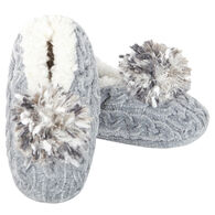 MeMoi Women's Cable Knit Pompom Slipper