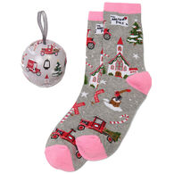 Hatley Little Blue House Women's Holiday Christmas Village Crew Sock and Tree Ornament