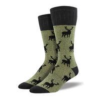 Socksmith Design Men's Outlands Stag Patten Hiking Crew Sock