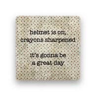 Paisley & Parsley Designs Helmet On Marble Tile Coaster