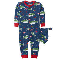 Hatley Infant Boy's Little Blue House Gone Fishing Baby Coverall with Hat