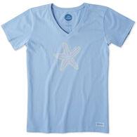 Life is Good Women's Mosaic Starfish Crusher Vee Short-Sleeve T-Shirt