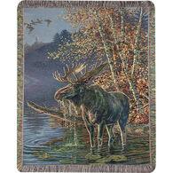 Manual Woodworkers & Weavers Moose In Water Tapestry Throw
