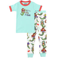 Lazy One Girls' Sea You In The AM Mermaid Pajama Set