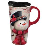 Evergreen Snowman & Cardinal Ceramic Travel Cup w/ Lid