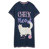 Hatley Little Blue House Women's Check Meowt Sleepshirt