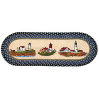Capitol Earth Three Lighthouses Oval Patch Printed Runner Braided Rug
