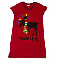 Lazy One Women's Mooseltoe Christmas V-Neck Nightshirt