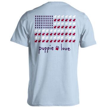 Puppie Love Womens Puppie USA Flag Short-Sleeve T-Shirt