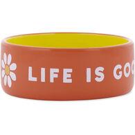 Life is Good Ceramic Daisy 13 oz. Dog Bowl