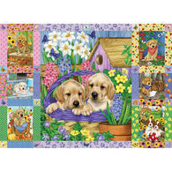 Outset Media Jigsaw Puzzle - Puppies and Posies Quilt