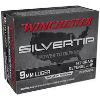 Winchester Silvertip 9mm Luger 147 Grain Defense JHP Handgun Ammo (20)